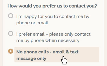 No phone calls option in our Get a Quote form