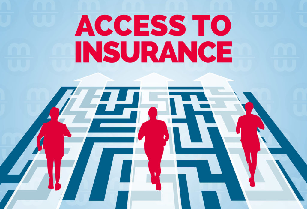 Access to insurance: people crossing a bridge over a maze